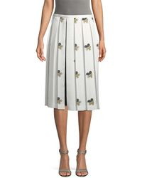 Victoria Beckham Grid And Floral Print Pleated Skirt - Multicolour