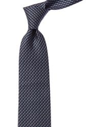 Ferragamo Navy Dolphin Silk Tie - Blue