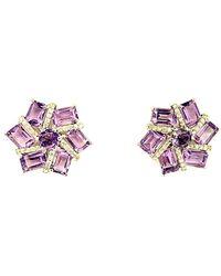 Arthur Marder Fine Jewelry Silver 0.33 Ct. Tw. Diamond & Amethyst Earrings - Multicolour
