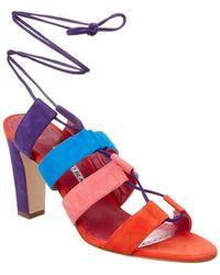 Manolo Blahnik Aulus 90 Suede Ankle Wrap Sandal - Purple