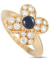 Van Cleef & Arpels Vintage Van Cleef & Arpels 18k 1.02 Ct. Tw. Diamond & Sapphire Trefle Ring - Metallic