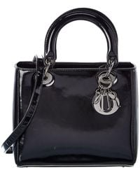 Dior Black Calfskin Leather Small Lady