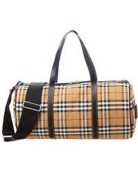 Burberry Medium Vintage Check And Leather Barrel Bag - Multicolour