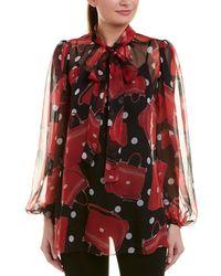 Dolce & Gabbana - D&g Balloon Sleeve Silk Blouse - Lyst