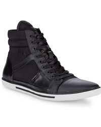 Kenneth Cole Upside-down Leather Trainer - Black
