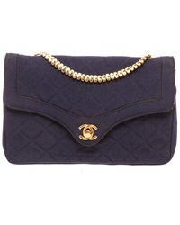 Chanel Navy Quilted Fabric Envelope Bag - Blue