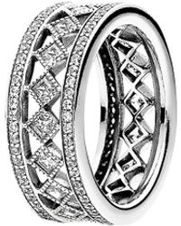 PANDORA Silver Cz Vintage Fascination Ring - Metallic