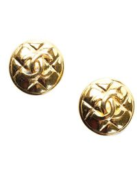 Chanel Gold-tone Small Quilted Cc Clip-on Earrings - Metallic