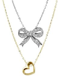 Alex Woo | Sterling Silver Double Pendant Diamond Necklace | Lyst