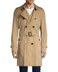 Burberry Brit Spread Collar Belted Trench Coat - Natural