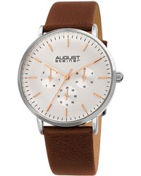 August Steiner Men's Genuine Leather Watch - Multicolour