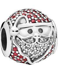 PANDORA Silver & Cz Sparkling Jolly Santa Charm - Metallic