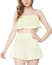 Sugarlips Luna Eyelet Crop Top - Yellow
