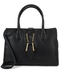 Sam Edelman Top Handle Leather Satchel - Black