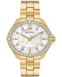 Bulova Women's Crystal Gold Tone Stainless Steel Bracelet Watch 35mm 98l230 - A Macy's Exclusive - Metallic
