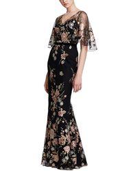 Marchesa notte Floral Mermaid Gown - Black