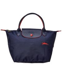 Longchamp Le Pliage Club Small Nylon Short Handle Tote - Blue
