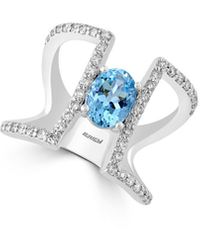 Effy Fine Jewellery 14k 2.05 Ct. Tw. Diamond & Aquamarine Ring - Blue
