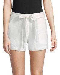 Saks Fifth Avenue Black Tie-waist Linen Shorts - White
