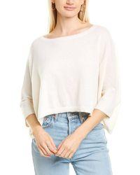 Minnie Rose Cashmere Cropped Boyfriend T-shirt - White