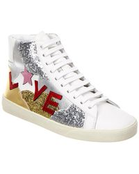 Saint Laurent Love Glitter Leather Sneaker - White