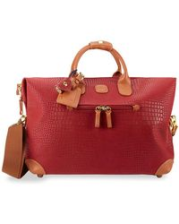"""Bric's 18"""" Leather Duffel Bag - Red"""