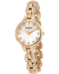 Bulova - Women's Stainless Steel Diamond Watch - Lyst