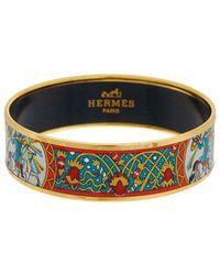 Hermès Plated Wide Enamel Bangle - Blue