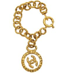 Chanel Gold-tone Glass Cc Charm Bracelet - Metallic