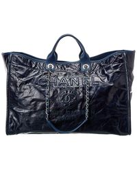 Chanel Navy Blue Canvas Xl Deauville