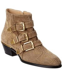 bdc7b3d8bc424 Chloé Susanna Buckle Strap Mid Calf Boot in Brown - Lyst