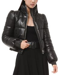 Michael Kors Plonge Leather Puffer Jacket - Black