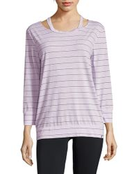 Andrew Marc Striped Three-quarter Sleeve Top - Multicolour