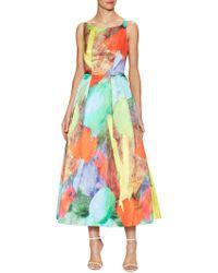 MILLY Cotton Tulip Print Tea Length Dress - Green