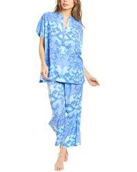 N Natori 2pc Oasis Challis Pyjama Pant Set - Blue