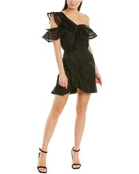 Self-Portrait One Shoulder Frilled Dress - Black