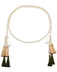 Panacea Beaded Tassel Necklace - White