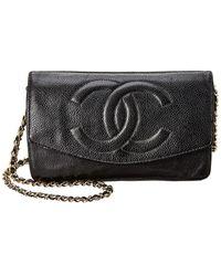 Chanel Black Lambskin Leather Timeless Wallet On Chain