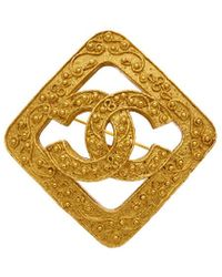 Chanel Gold-tone Filigree Square Pin - Metallic