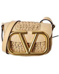 Valentino Garavani Supervee Small Straw & Leather Crossbody - Multicolour
