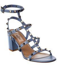 Valentino Garavani Rockstud Caged 60 Leather Sandal - Blue
