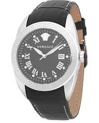 Versace - Logo Stainless Steel And Embossed Leather-strap Watch - Lyst