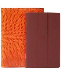 Hermès - Orange Lizard Notebook - Lyst