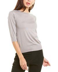 Piazza Sempione 3/4-sleeve Wool & Silk-blend Top - Gray