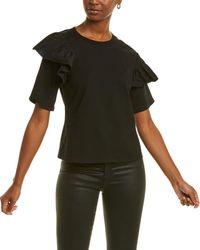 Gracia Ruffle Sleeve Top - Black