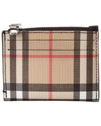 Burberry Vintage Check And Leather Zip Card Case - Black