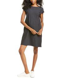 Eileen Fisher Stretch Crepe Bateau Neck Shift Dress - Grey