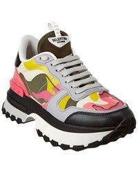 Valentino Camouflage Leather & Suede Trainer - Black