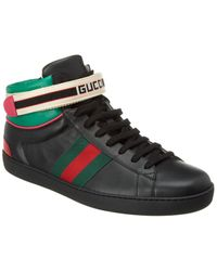 Gucci Stripe Ace High-top Sneakers - Black
