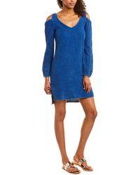 Wanderlux Cold-shoulder Shift Dress - Blue